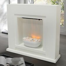 Electric Fireplace Fire Surround Free Standing Flame Effect Lighted Pebbles Bowl