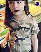 Boy Girl Kid Handsome Camo Army Military Party short Sleeves T shirt Tee Tops