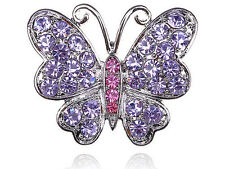 Purple Violet Rose Rhinestone Gems Butterfly Wide Cut Costume Fashion Rings Band