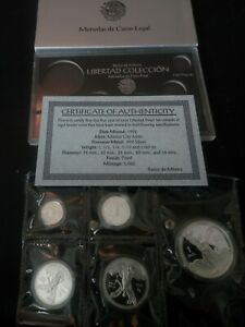 1992 silver libertad proof 5 coin fractional set original sealed from mint pack