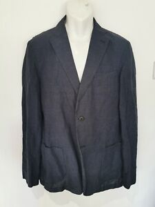 "MENS UNIQLO NAVY/BLACK LINEN, COTTON LIGHTWEIGHT JACKET. SIZE LARGE (42"")"