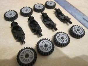 Lego 8 x Grey Spoked Wheels 18mm with Tyres + 4 x Axle Brick Suspension link arm