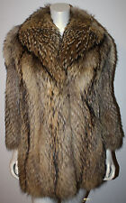 GORGEOUS Finn Tanuki Racoon Fur Jacket Coat S M Feathered Tipped PERFECT