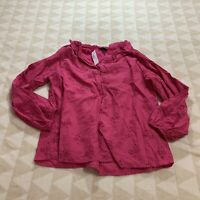 J. Crew Women's Pink Button-front Eyelet Peasant Ruffle Blouse Size Large AF449