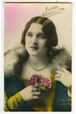 1920s French Glamour Lady YOUNG BEAUTY glamor photo postcard