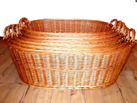 Linen Chest Laundry Basket Washing Collector Wicker Oval Natural Pasture Eco