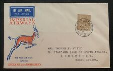 1932 Croydon England First Flight Airmail Cover Ffc To Kimberly South Africa