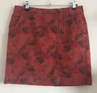 Sandwich_ Size Euro 36 Ladies Red Skirt With Multicoloured Floral Print