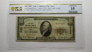 $10 1929 Shannon City Iowa IA National Currency Bank Note Bill Ch #9723 F15 PCGS