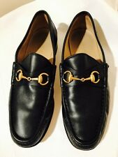 Designer GUCCI Men's Navy Blue Leather Loafers Shoes Size: 8