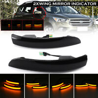 2Pcs Dynamic LED Wing Mirror Indicator Light Amber For Ford Kuga Escape EcoSport