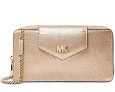 Michael Kors Metallic Pebble Leathwr Crossbody Clutch In Rose Gold