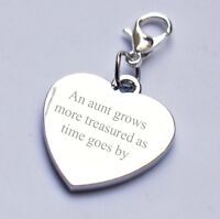 Engravable Aunt Heart Charm 2 Sides Engraving any Message/Wording/Date Gift