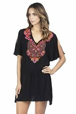 Kenneth Cole Medium Solid Black Mumbai The Sea Flutter Sleeve Swim Coverup M NWT