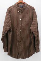 Roundtree & Yorke Men's 3XT 3XLT Brown Maroon Orange Stripe L/S Shirt