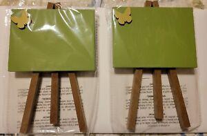 """Michaels Summer Chalk Easel, 2 Green With Butterflies 7"""" Tall"""