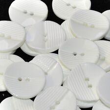 Mercerie lot de 5 boutons blanc strié 22mm button