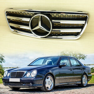 E-Class For M-Benz W210 Facelift 2000-2002 Shiny Black & Chrome Front Grille