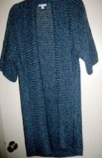 Long Blue Knit Shawl Front Sweater Vest 1/2 Dolman Sleeve Sz L by New York & Co.