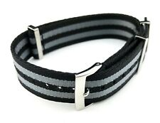 20mm BLACK&GREY 007 James Bond NATO STRAP & CLASP fit OMEGA Watches + Pind/Tool