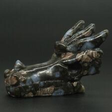 "2""Texas Llanite Biue Opal Dragon Skull Figurine Carved Crystal Stone Statue1979"