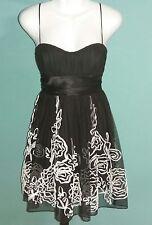 Speechless Juniors Black & White Tulle Sweetheart Neckline Empire Waist Dress M