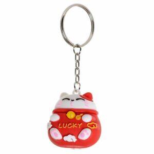 JDM Maneki Neko Lucky Cat 3D PVC Keyring - Red