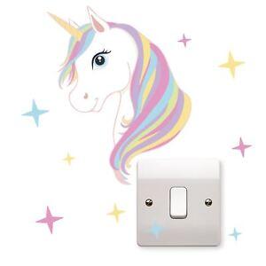 Unicorn Stars Light Switch Vinyl Sticker Laptop Wall Art Kids Bedroom Playroom