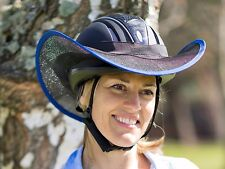"""HELMET BRIM SHADE  FOR HORSE RIDING """"NEW """"  ONE SIZE FITS ALL BLACK WITH BLUE"""