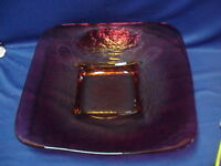 "LARGE Art GLASS Ruby Red and Yellow Platter Dish Display Console Bowl 18"" by 18"""