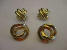 Vintage Anne Klein Gold Tone X's and O's TWO Pairs Pierced Earrings 8146