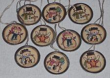 10 Whimsical Christmas Snowman Mini Tree Ornaments Ornies Hang Tags Gift Ties