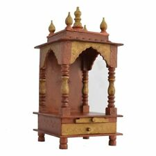 Simple wooden temple color Indian hindu mandir brown religious home decor