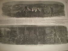 Epsom night before the Derby camping on Downs and Irish Hotel 1858 old prints