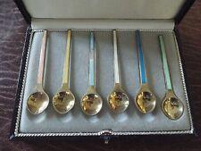 DENMARK Sterling Silver Enamel demitasse Spoon SET in box ELA
