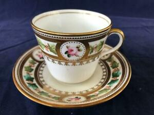 GOOD ANTIQUE MINTON / MOORES BONE CHINA HAND PAINTED CUP AND SAUCER. #1.