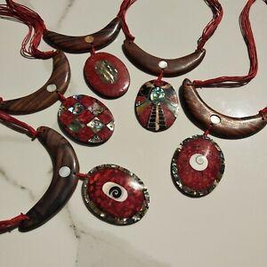 pendente e collana MADREPERLA conchiglia legno fatto a mano BALI cristallo ROSSO