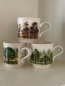 3 x 1970's Biltons Staffordshire Stackable mugs Tree Designs - Vintage Mugs