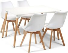 Toulouse Tulip Eiffel Style Dining Set 120x80cms White Table & 4 White Chairs