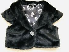 Girls Black Faux Fur Party Shrug Age 6-7 Years from Matalan