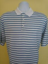 New listing MEN'S LARGE BLUE AND WHITE STRIPED SHORT SLEEVE GOLF POLO SHIRT BY WALTER HAGEN