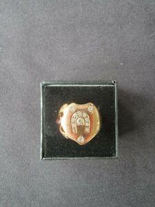 14 KT Rose Gold Lucky Horseshoe Ring 13 1 Pt. diamonds and Garnet - Size 6.75