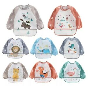 Baby Kids Bibs With Full Long Sleeve Baby Toddler Weaning Feeding Apron Smock