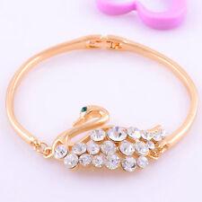 Chic White Topaz Gems 14K gold Filled Womens goose Bangle B1292 Fashion Jewelry