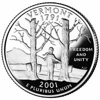 2001 S SILVER GEM PROOF VERMONT STATE QUARTER 90% SILVER