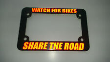 MOTORCYCLE WATCH FOR BIKES SHARE THE ROAD RED License Plate Frame REFLECTIVE