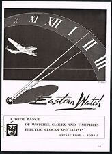 1950s Vintage Eastern Watch Bombay Mid Century Airplane Art Print Ad
