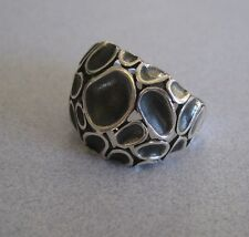 Mexican 925 Silver Taxco Oxidised Modern Ovals Drops Art Deco Abstract Ring Sz 9