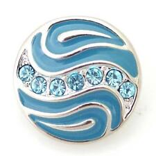 Noosa Chunks Ginger Style Snap Button Charms Blue Rhinestone Waves 20mm