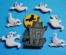 BEWARE OF GHOSTS  Halloween Spooky Witch Haunted House Dress It Up Craft Buttons
